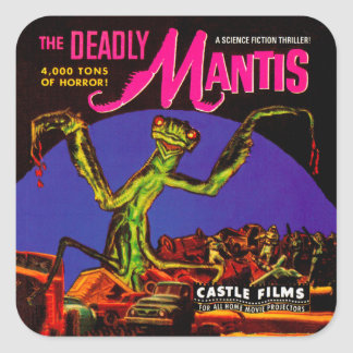 "Vintage ""The Deadly Mantis"" Film Box Square Sticker"