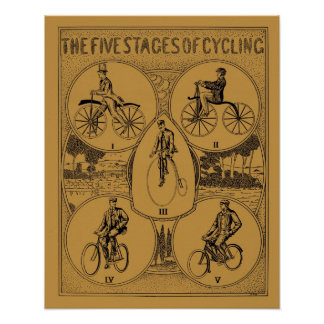Vintage The Five Stages of Cycling Poster