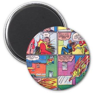 Vintage The Flame Superhero Comic Book Villain 2 Inch Round Magnet