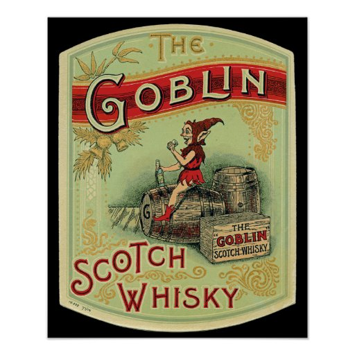 """Vintage  """"The Goblin """" Scotch Whiskey Label Poster"""