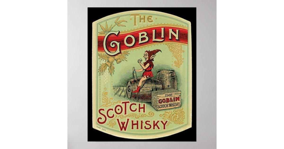 Vintage Quot The Goblin Quot Scotch Whiskey Label Poster Zazzle Com