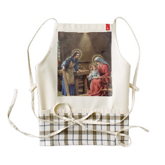 vintage the holy family, Jesus christ, Josef,Mary, Zazzle HEART Apron