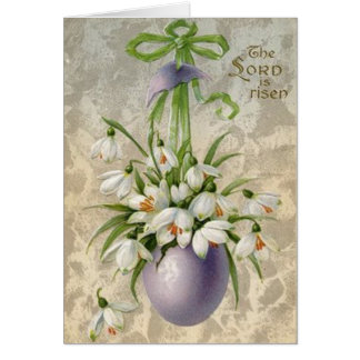 Vintage The Lord Has Risen Easter Egg Cross Easter Card