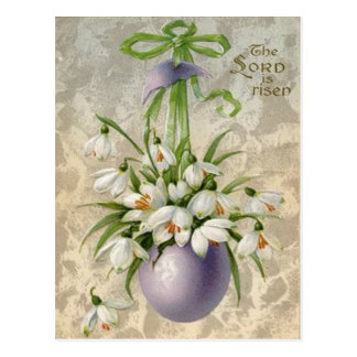 Vintage The Lord Has Risen Easter Egg Cross Easter Postcard