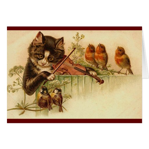 Vintage - The Musical Cat Greeting Card