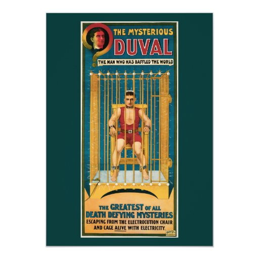 Vintage The Mysterious Duval Magic Poster Card