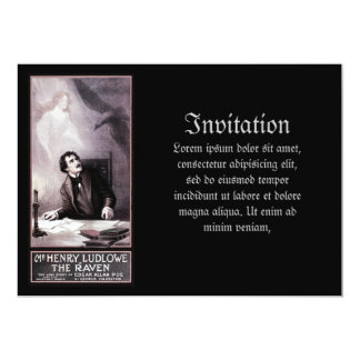 Vintage The Raven Theatrical 5x7 Paper Invitation Card