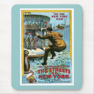 Vintage The Streets of New York Poster Mouse Pad