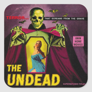 "Vintage ""The Undead"" Film Box Square Sticker"