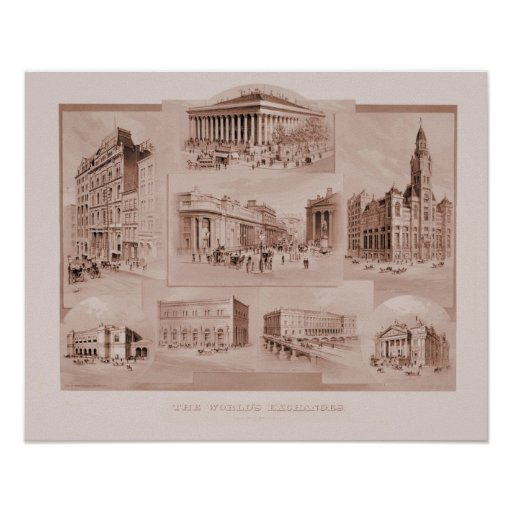 Vintage The World's Exchanges Print