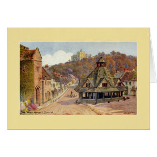 Vintage The Yarn Market Dunster watercolour art Greeting Card