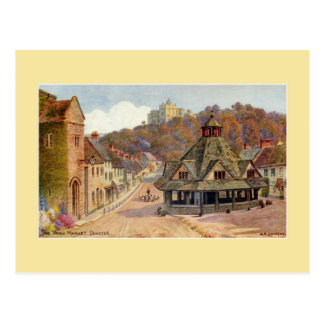 Vintage The Yarn Market Dunster watercolour art Postcard