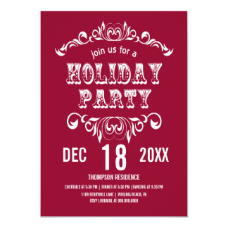 Vintage Theater Bill Holiday Party Invite-cranberr