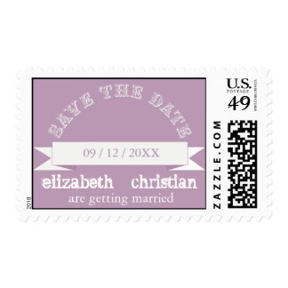 Vintage Theater Bill Save The Date Postage-lilac Postage