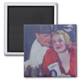 Vintage Theater Couple 2 Inch Square Magnet