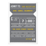 Vintage Theater Ticket Insert in Gray and Yellow Announcement