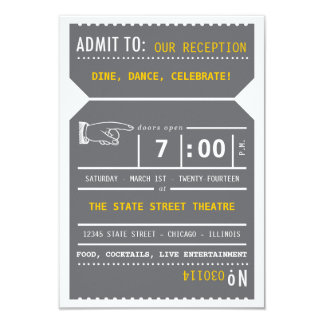 Vintage Theater Ticket Insert in Gray and Yellow 3.5x5 Paper Invitation Card