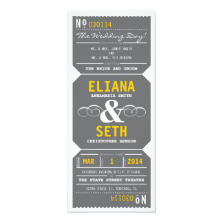 "Vintage Theater Ticket Invitation Gray and Yellow 4"" X 9.25"" Invitation Card"