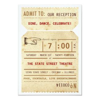 "Vintage Theater Ticket Reception Insert Card 3.5"" X 5"" Invitation Card"