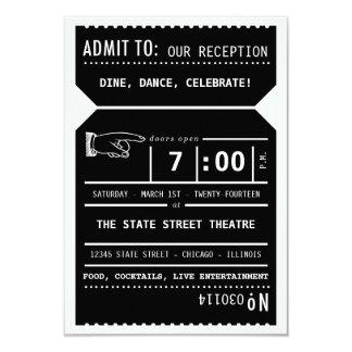 Vintage Theater Ticket Reception Insert in Black 3.5x5 Paper Invitation Card