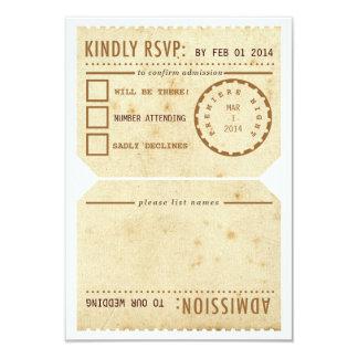 "Vintage Theater Ticket RSVP Response Card 3.5"" X 5"" Invitation Card"
