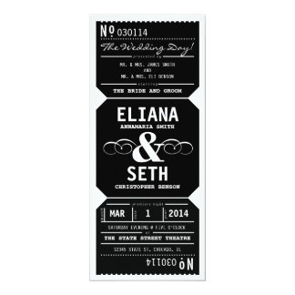 Vintage Theater Ticket Wedding Invitation in Black