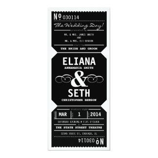 "Vintage Theater Ticket Wedding Invitation in Black 4"" X 9.25"" Invitation Card"