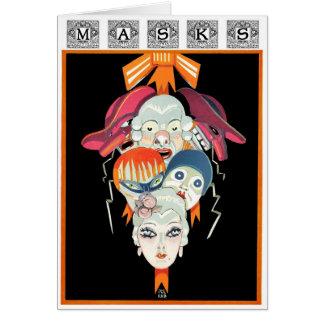 VINTAGE THEATRE COVERART ~ HALLOWEEN MASKS CARD