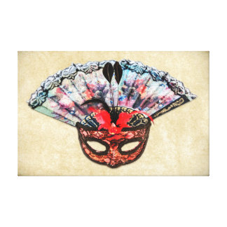 Vintage Theatre Mask and Hand Fan Canvas