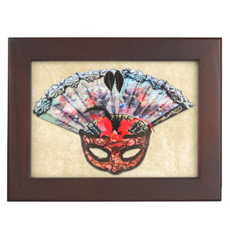 Vintage Theatre Mask and Hand Fan Keepsake Box