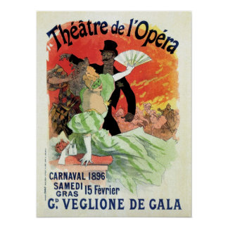 Vintage Theatre Opera Carnival 1896 Poster