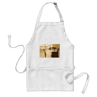 Vintage theme with antique lampshade and retro tel adult apron