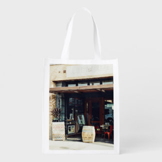 Vintage Themed, Classic Vintage Concept Of Cafe Sh Reusable Grocery Bag