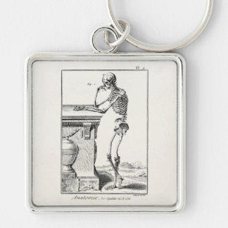 Vintage Thinking Human Skeleton Medical Anatomy Keychain