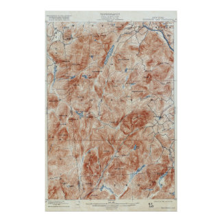 Vintage Thirteenth Lake New York Topographical Map Poster