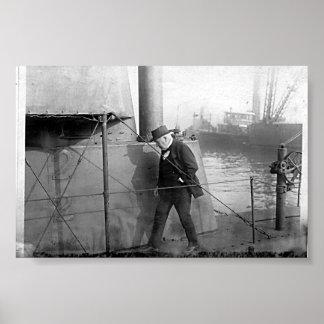 Vintage Thomas Alva Edison Inspects Submarine Poster