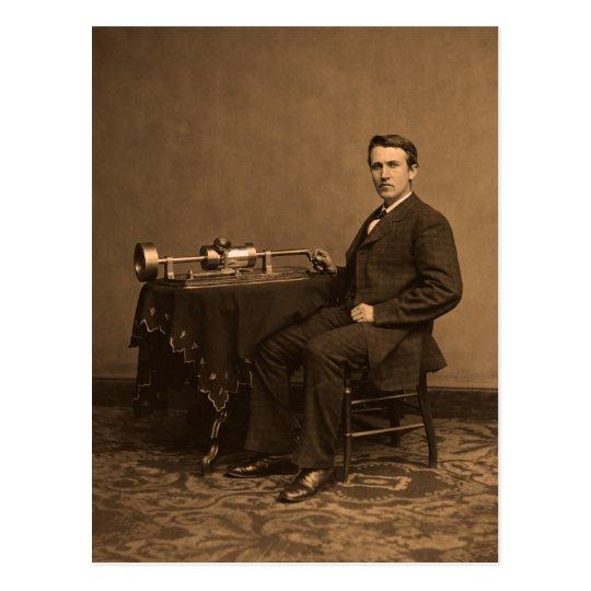 vintage Thomas Edison and phonograph Postcard