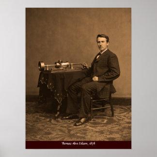 vintage Thomas Edison y fonógrafo Póster