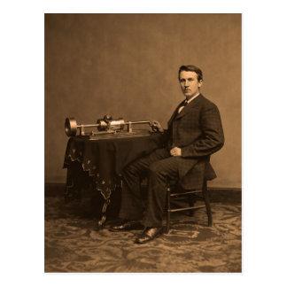 vintage Thomas Edison y fonógrafo Postal