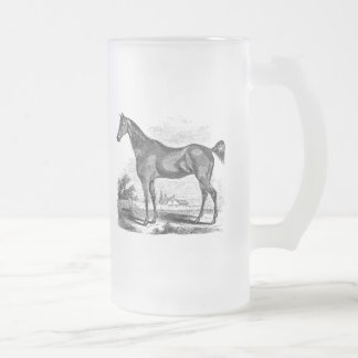 Vintage Thoroughbred Horse Equestrian Personalized Frosted Glass Beer Mug