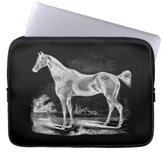 Vintage Thoroughbred Horse Equestrian Personalized Laptop Sleeves