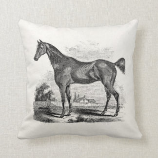 Vintage Thoroughbred Horse Equestrian Personalized Throw Pillow