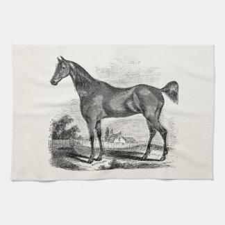 Vintage Thoroughbred Horse Equestrian Personalized Towel