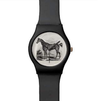 Vintage Thoroughbred Horse Equestrian Personalized Wristwatch