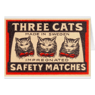 Vintage Three Cats Safety Matches Cards