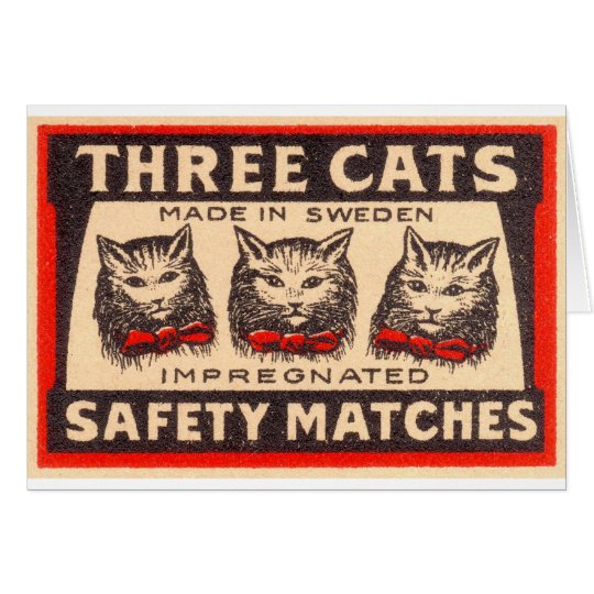 Vintage Three Cats Safety Matches Card