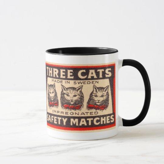 Vintage Three Cats Safety Matches Mug