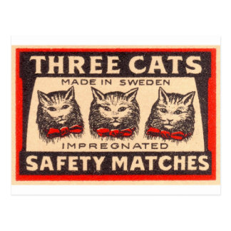 Vintage Three Cats Safety Matches Post Cards