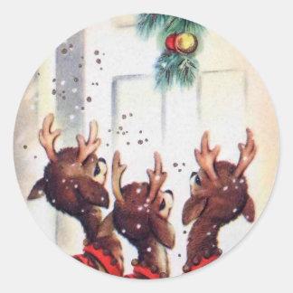 Vintage Three Christmas Reindeer At The Door Classic Round Sticker