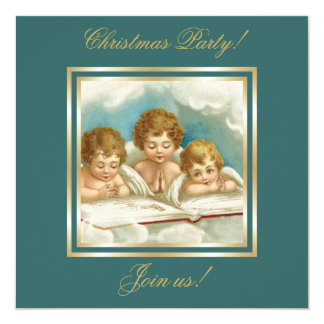 Vintage three cute praying angels invitation